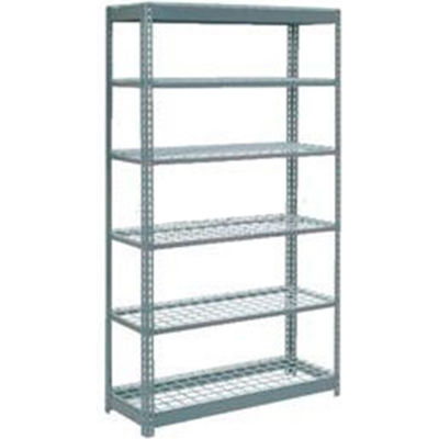 """Heavy Duty Shelving 48""""W x 12""""D x 96""""H With 6 Shelves - Wire Deck - Gray"""