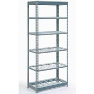 "Global Industrial™ Heavy Duty Shelving 48""W x 18""D x 96""H With 6 Shelves - Wire Deck - Gray"