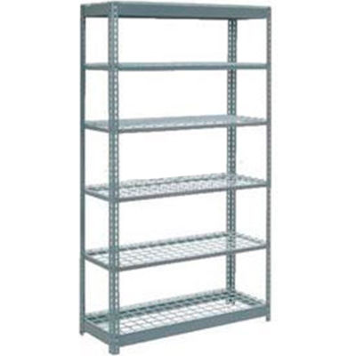 "Heavy Duty Shelving 48""W x 24""D x 96""H With 6 Shelves - Wire Deck - Gray"