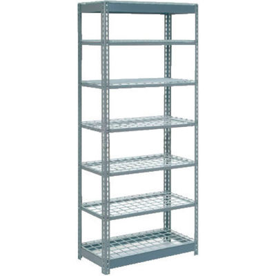 "Heavy Duty Shelving 36""W x 24""D x 96""H With 7 Shelves - Wire Deck - Gray"