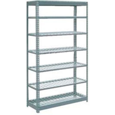 "Heavy Duty Shelving 48""W x 24""D x 96""H With 7 Shelves - Wire Deck - Gray"