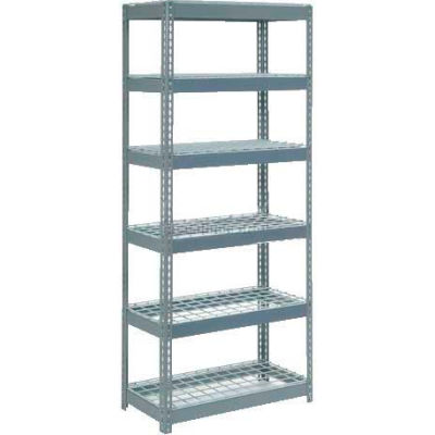 """Extra Heavy Duty Shelving 36""""W x 12""""D x 96""""H With 6 Shelves - Wire Deck - Gray"""