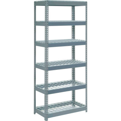 """Extra Heavy Duty Shelving 36""""W x 24""""D x 96""""H With 6 Shelves - Wire Deck - Gray"""