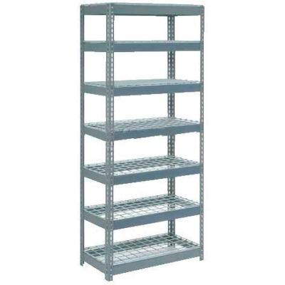 """Extra Heavy Duty Shelving 36""""W x 18""""D x 96""""H With 7 Shelves - Wire Deck - Gray"""