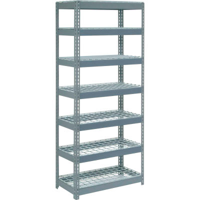 """Extra Heavy Duty Shelving 36""""W x 24""""D x 96""""H With 7 Shelves - Wire Deck - Gray"""