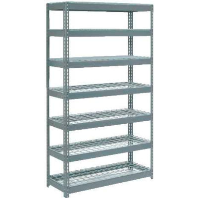 """Extra Heavy Duty Shelving 48""""W x 12""""D x 96""""H With 7 Shelves - Wire Deck - Gray"""