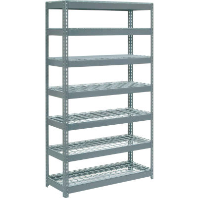 "Extra Heavy Duty Shelving 48""W x 24""D x 96""H With 7 Shelves - Wire Deck - Gray"