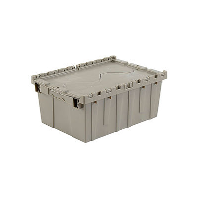 Global Industrial™ Plastic Attached Lid Shipping & Storage Container 21-7/8x15-1/4x9-11/16 GRY