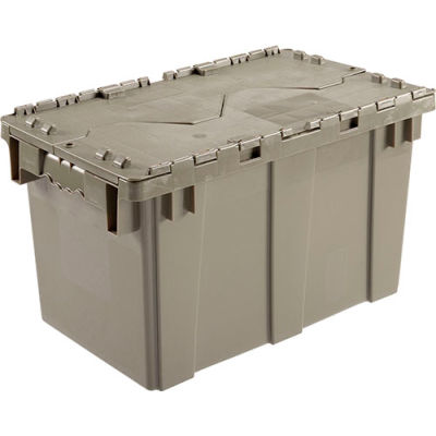 Global Industrial™ Plastic Attached Lid Shipping & Storage Container DC2213-12 22-3/8x13x13 GY