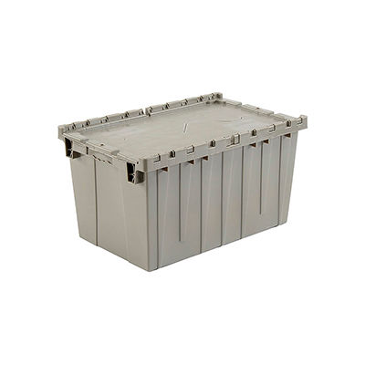Global Industrial™ Plastic Attached Lid Shipping & Storage Container 25-1/4x16-1/4x13-3/4 Gray