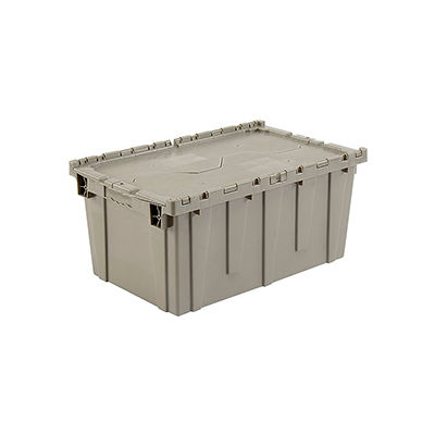 """Global Industrial™ Shipping & Storage Container W/ Attached Lid, Gray, 27-3/16""""x16-5/8""""x12-1/2"""""""
