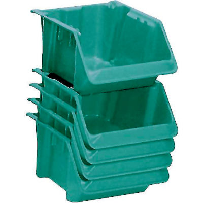 "LEWISBins Fiberglass Hopper Bin SH1811-7 Stack And Nest 18""L x 11-1/2""W x 8""H Green - Pkg Qty 5"