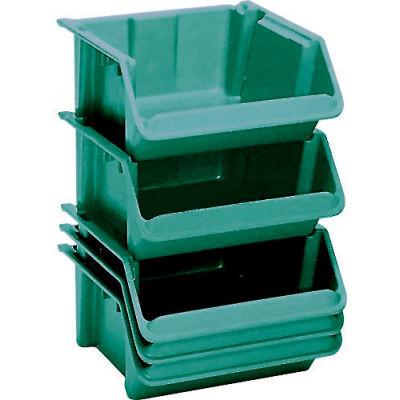 "LEWISBins Fiberglass Hopper Bin SH2416-8 Stack And Nest 24""L x 16-1/2""W x 8""H Green - Pkg Qty 5"