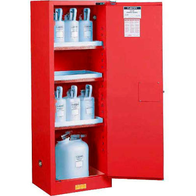 Justrite® Paint & Ink Cabinet With Manual Close Single Door, 22 Gallon Capacity, Red