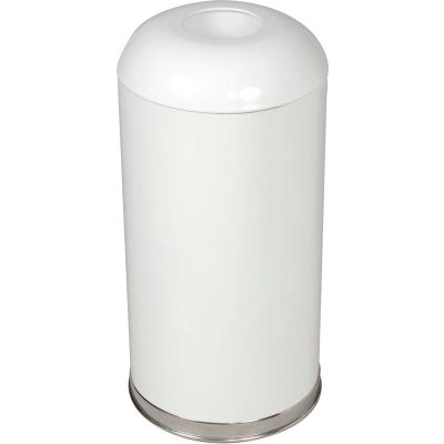 Rubbermaid® R32EGL 15 Gallon Round Open Top Waste Receptacle with Galvanized Liner, White