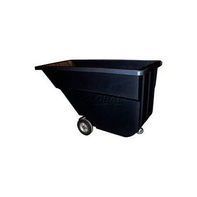 Bayhead Products Light Duty Plastic Tilt Truck, 1-1/10 Cu. Yd. Cap, 600 Lbs. Cap, Black