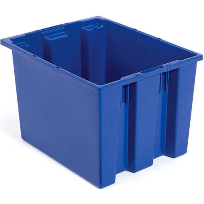Plastic Shipping Containers - Stackable & Nesting SNT190 No Lid 19-1/2 x 15-1/2 x 10, Blue - Pkg Qty 6