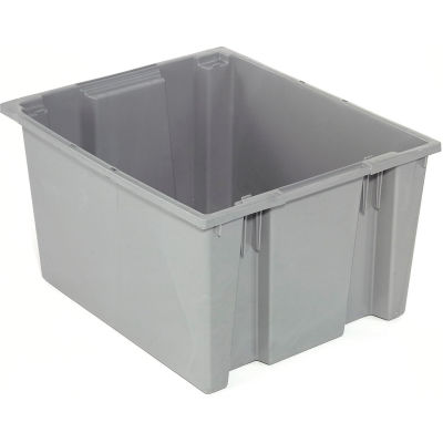 Stack And Nest Container - Plastic Storage SNT225 No Lid 23-1/2 x 19-1/2 x 10, Gray - Pkg Qty 3