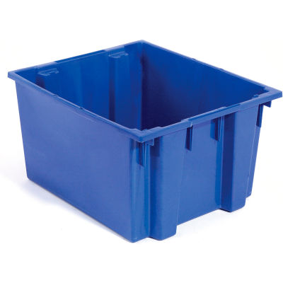 Plastic Shipping Containers - Stackable & Nesting SNT230 No Lid 23-1/2 x 19-1/2 x 13, Blue - Pkg Qty 3