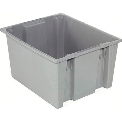 Stack And Nest Container - Plastic Storage SNT230 No Lid 23-1/2 x 19-1/2 x 13, Gray - Pkg Qty 3
