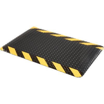 "Diamond Plate Ergonomic Mat 9/16"" Thick 24""X36"", Black/Chevron Border"