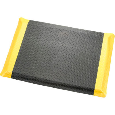 "Diamond Plate Ergonomic Mat 9/16"" Thick 24""X36"", Black/Yellow Border"