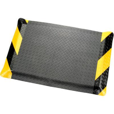 "Diamond Plate Ergonomic Mat 9/16"" Thick 36""X60"", Black/Chevron Border"