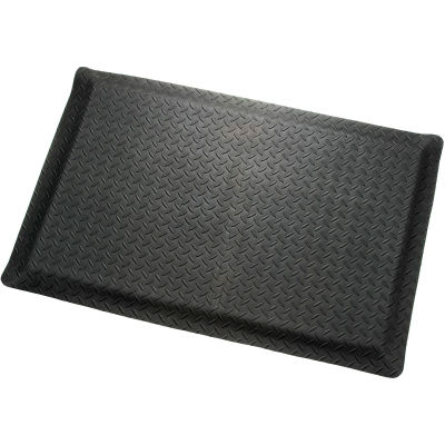"Diamond Plate Ergonomic Mat 9/16""Thick 24""W Cut Length Up To 75ft, Black"