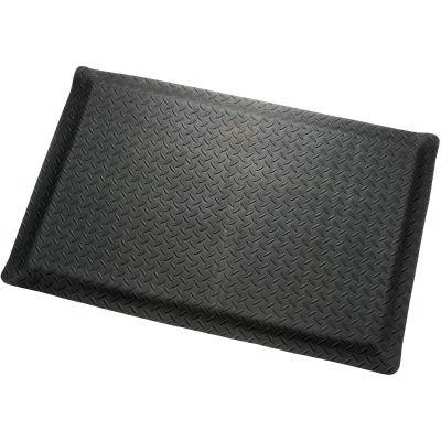 "Diamond Plate Ergonomic Mat 9/16""Thick 48""W Cut Length Up To 75ft, Black"