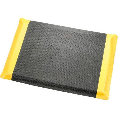 "Diamond Plate Ergonomic Mat 9/16""Thick 48""W Cut Length Up To 75ft, Black/Yellow Border"