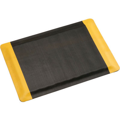 "Apache Mills Invigorator™ Corrugated Safety Mat 1/2"" Thick 3' x Up to 75' Black/Yellow Border"