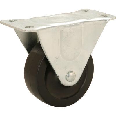 "Light Duty Rigid Plate Caster 4"" Rubber Wheel 240 Lb. Capacity"