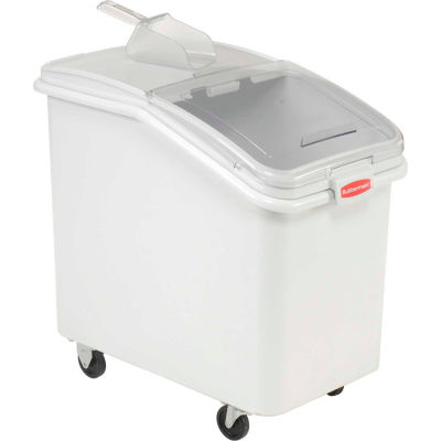 Rubbermaid® 3603-88 4.1 Cu. Ft Plastic Bin Truck with Clear Lid & Scoop