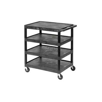 Luxor® BC40 Black Plastic Shelf Truck 32 x 24 x 39 4 Shelves
