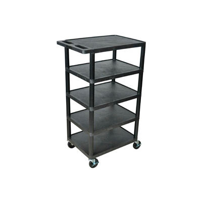 Luxor® BC50  Plastic Shelf Truck 24 x 18 x 46, 5 Shelves, Black