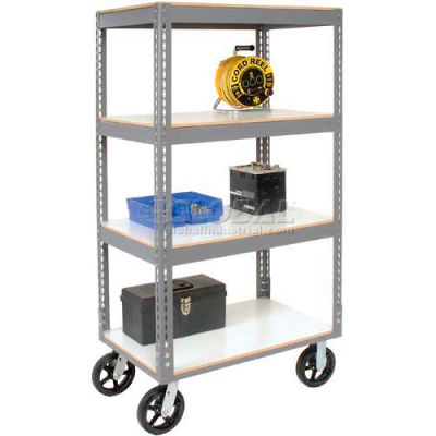 Global Industrial™ Easy Adjust Boltless 4 Shelf Truck 36x18 W/ Laminate Shelves, Rubber Casters