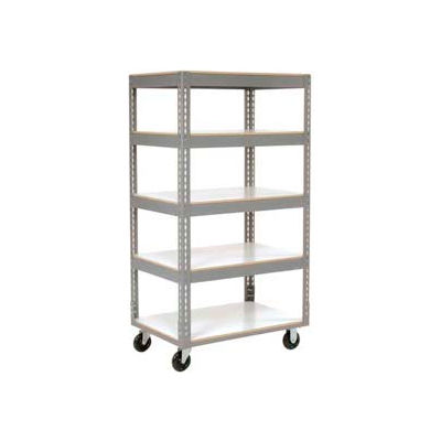 Easy Adjust Boltless 5 Shelf Truck 36 x 18 with Laminate Shelves - Polyurethane Casters