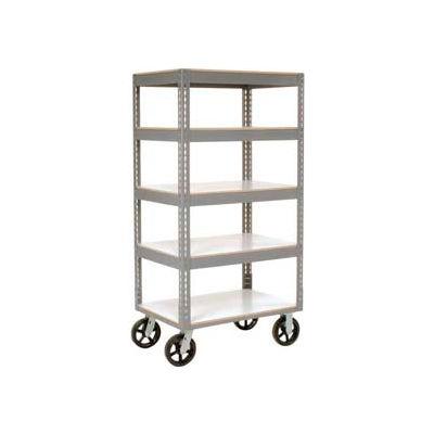 Easy Adjust Boltless 5 Shelf Truck 36 x 24 with Laminate Shelves - Rubber Casters