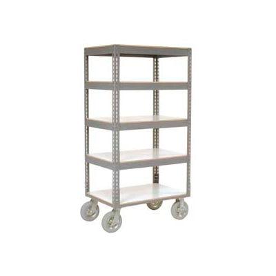 Global Industrial™ Easy Adj. Boltless 5 Shelf Truck 36x24, Laminate Shelves, Pneumatic Casters