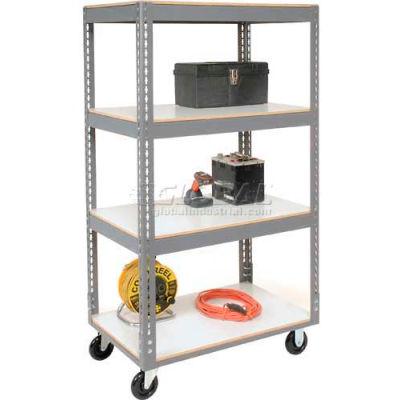 Easy Adjust Boltless 4 Shelf Truck 48 x 24 with Laminate Shelves - Polyurethane Casters