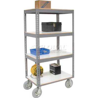 Easy Adjust Boltless 4 Shelf Truck 48 x 24 with Laminate Shelves - Pneumatic Casters