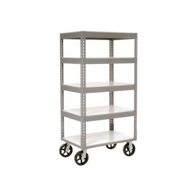 Global Industrial™ Easy Adjust Boltless 5 Shelf Truck 48x24 W/ Laminate Shelves, Rubber Casters