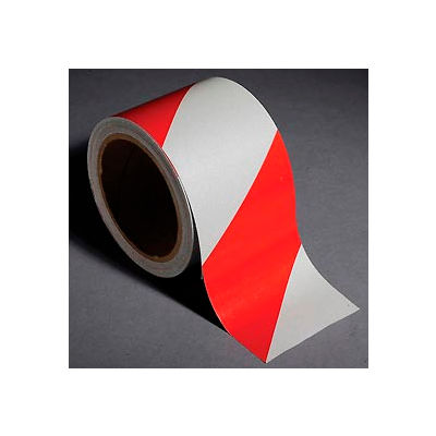 """INCOM® Safety Tape Reflective Striped Red/White, 3""""W x 30'L, 1 Roll"""