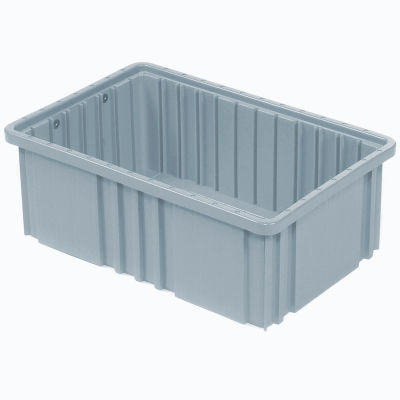 "Global Industrial™ Plastic Dividable Grid Container DG91035,10-7/8""L x 8-1/4""W x 3-1/2""H, Gray - Pkg Qty 20"