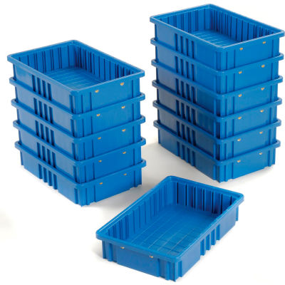 """Global Industrial™ Plastic Dividable Grid Container DG92035,16-1/2""""L x 10-7/8""""W x 3-1/2""""H, Blue - Pkg Qty 12"""