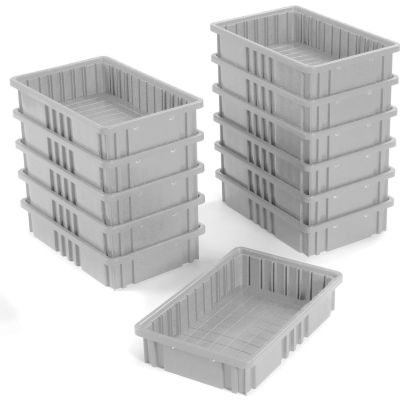 "Global Industrial™ Plastic Dividable Grid Container DG92035,16-1/2""L x 10-7/8""W x 3-1/2""H, Gray - Pkg Qty 12"