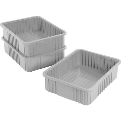 "Global Industrial™ Plastic Dividable Grid Container - DG93060, 22-1/2""L x 17-1/2""W x 6""H, Gray - Pkg Qty 3"