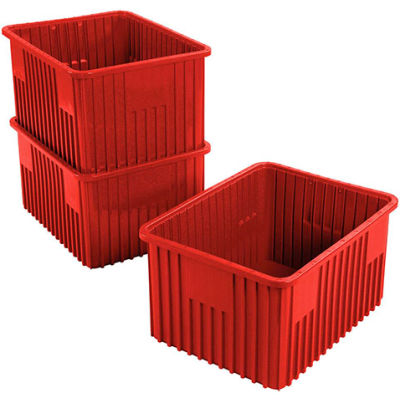 "Global Industrial™ Plastic Dividable Grid Container - DG93120, 22-1/2""L x 17-1/2""W x 12""H, Red - Pkg Qty 3"