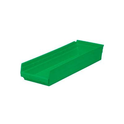 "Global Industrial™ Plastic Nesting Storage Shelf Bin 8-3/8""W x 23-5/8""D x 4""H Green - Pkg Qty 6"