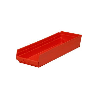"Global Industrial™ Plastic Nesting Storage Shelf Bin 8-3/8""W x 23-5/8""D x 4""H Red - Pkg Qty 6"